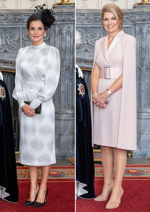 La reina Letizia y Máxima han vuelto ha derrochar estilo en Londres, durante la investidura de sus respectivos maridos como caballeros de la Orden de la Jarretera.