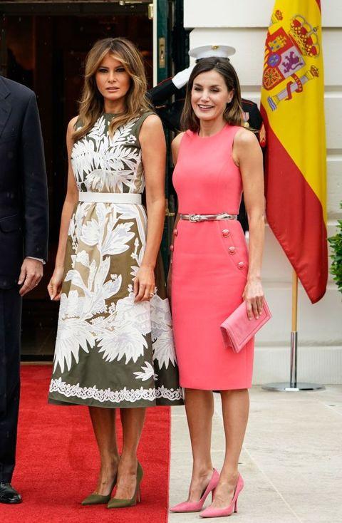 La reina Letizia con Melania Trump en la Casa Blanca en junio de 2018