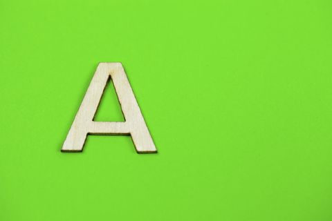 Letter A on green background