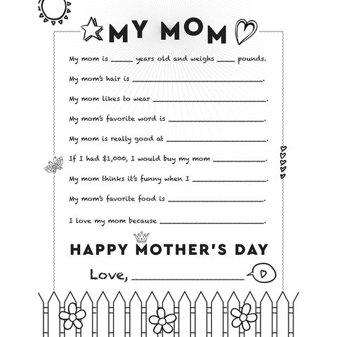 letter to mom printable