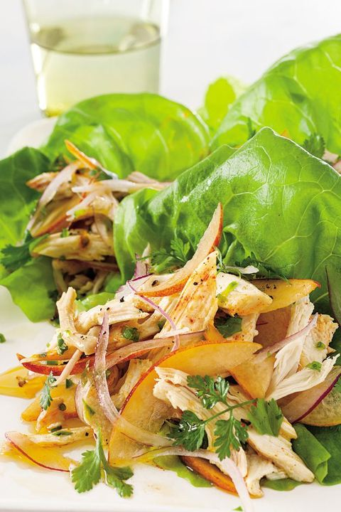 chicken lettuce cups with peach salsa