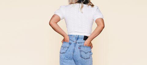 Clothing, White, Denim, Shoulder, Neck, Waist, Crop top, Sleeve, Pocket, Jeans,