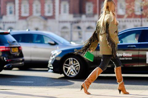 Street fashion, Fashion, Hairstyle, Snapshot, Leg, Footwear, Sunglasses, Long hair, Vehicle, Blond,