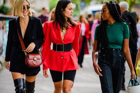 Street fashion, Clothing, Fashion, Pink, Footwear, Waist, Outerwear, Jeans, Thigh, Event,
