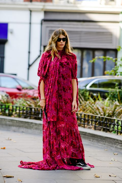 Clothing, Street fashion, Pink, Red, Dress, Fashion, Magenta, Fashion model, Pattern, Day dress,