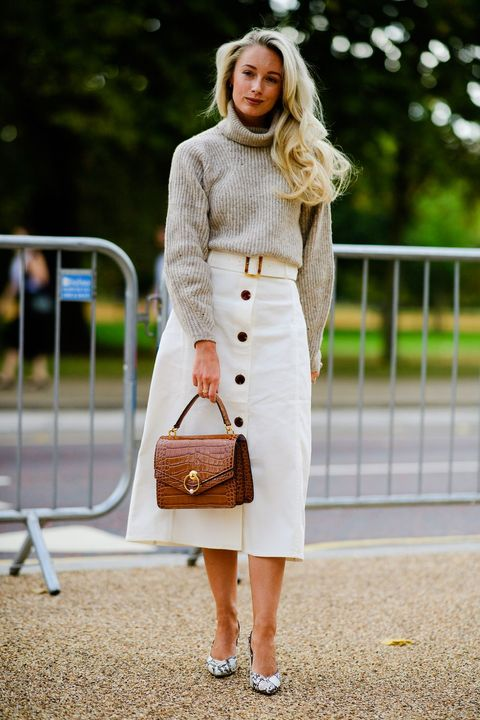 Clothing, White, Street fashion, Pencil skirt, Fashion, Dress, Outerwear, Brown, Beige, Footwear,