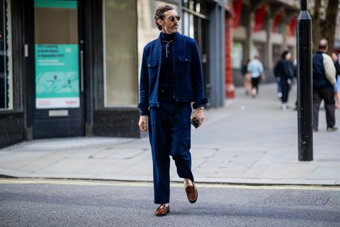 Street fashion, Blue, Photograph, Denim, Clothing, Jeans, Fashion, Snapshot, Suit, Standing,