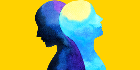 Head, Illustration, Yellow, Watercolor paint, Colorfulness, Art, Graphic design, Silhouette, Paint,