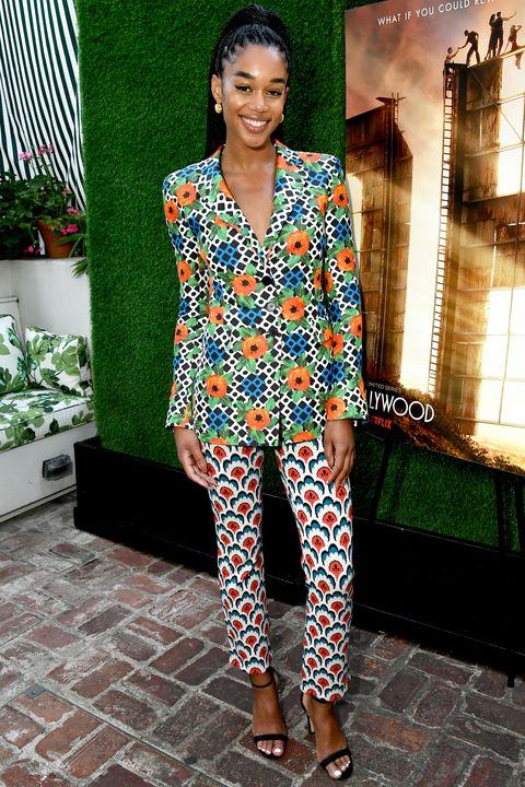 Clothing, Fashion, Street fashion, Shoulder, Fashion model, Pantsuit, Suit, Dress, Footwear, Neck,