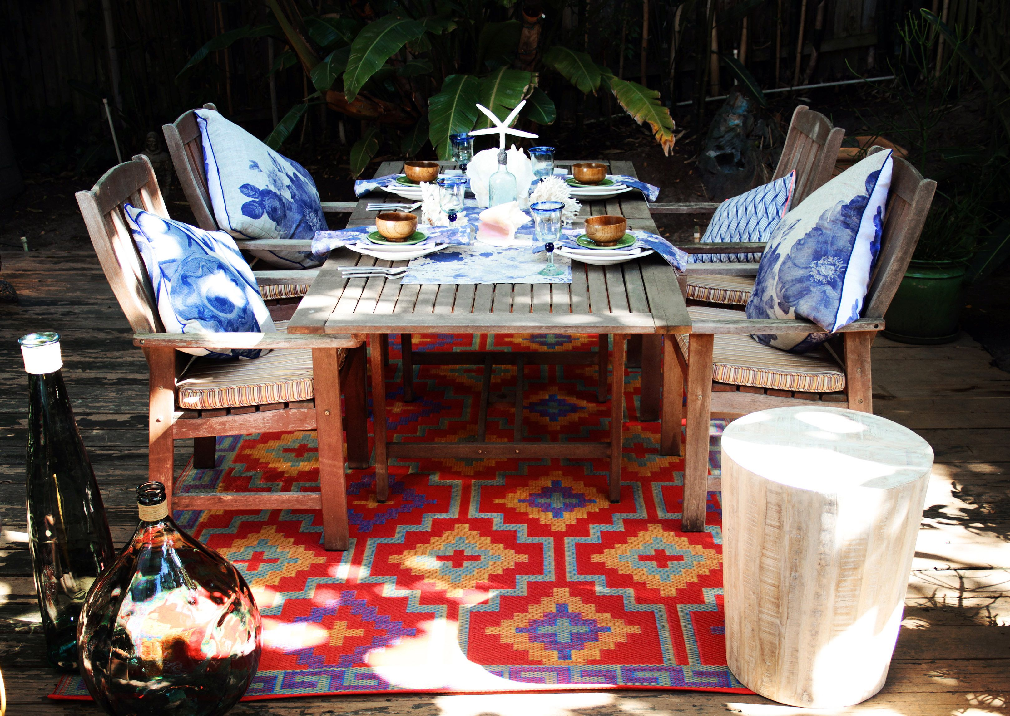 Outdoor rugs woven from recycled plastic straws is the