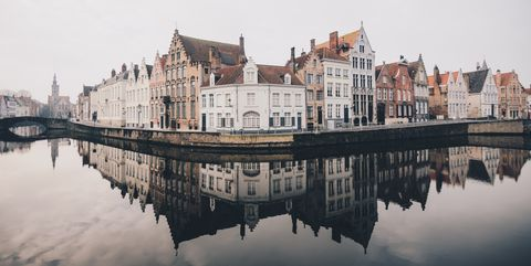 Reflection, Water, Waterway, Sky, Town, Architecture, Building, Water castle, River, Moat,