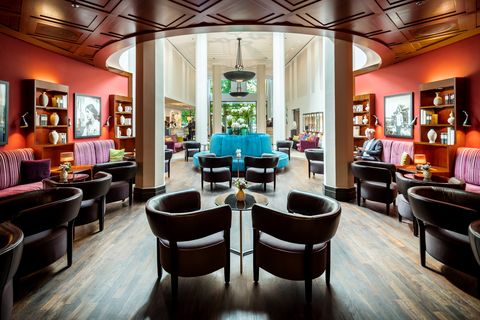 Interior design, Room, Building, Furniture, Table, Restaurant, Architecture, House, Ceiling, Lobby,