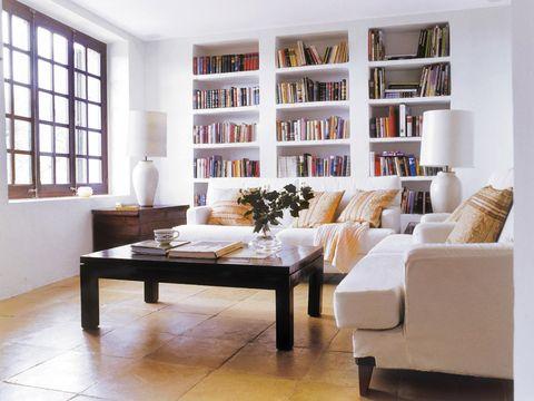 Furniture, Living room, Room, Interior design, Shelf, Shelving, Property, Table, Building, Bookcase,