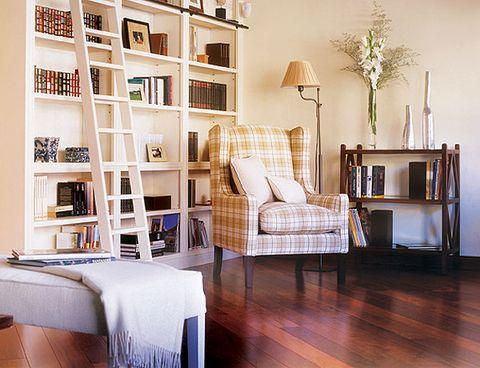 Furniture, Room, Interior design, Living room, Floor, Property, Shelf, Table, Wood flooring, Building,