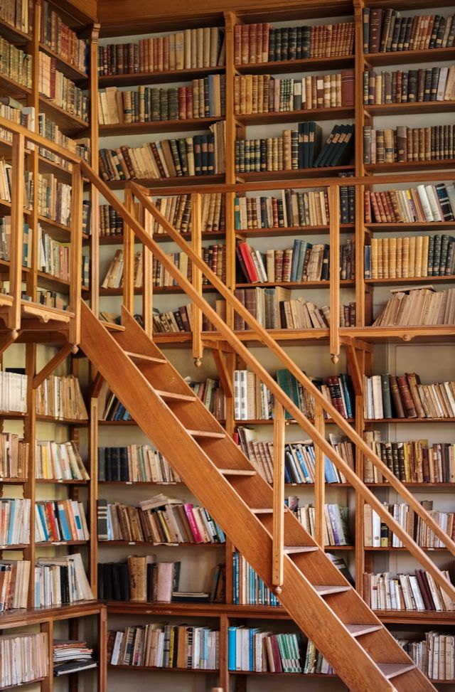 brown wooden shelves fully packed with books in a library with a ladder