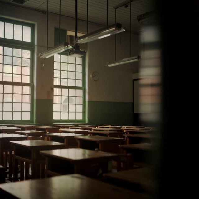 empty classroom and sunlight coming in from windows