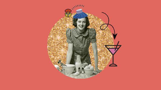 mujer cocinando, resaca, fiesta