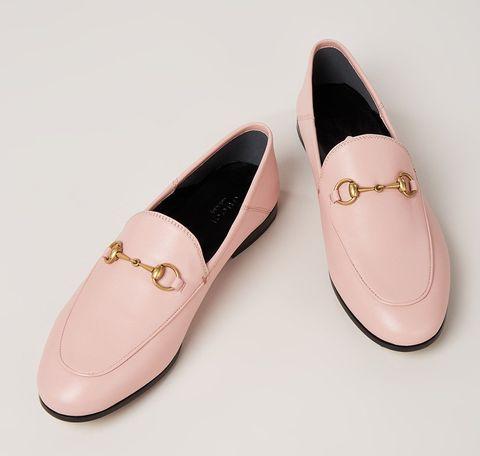 lichtroze loafer goud gucci detail bijenkorf, roze, leer, instapschoen, leer