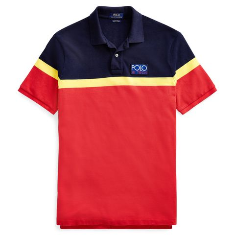 Clothing, T-shirt, Polo shirt, White, Sleeve, Sports uniform, Collar, Red, Line, Font,