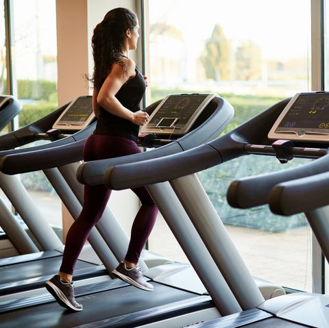 Lifestyle  gym and fitness Barcelona, athlete running in a treadmill.
