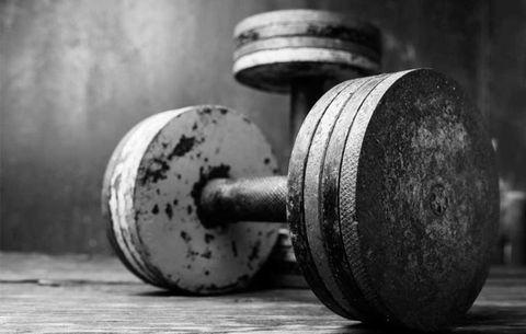 Weights, Dumbbell, Still life photography, Exercise equipment, Physical fitness, Weightlifting, Weight training, Photography, Black-and-white, Sports equipment,
