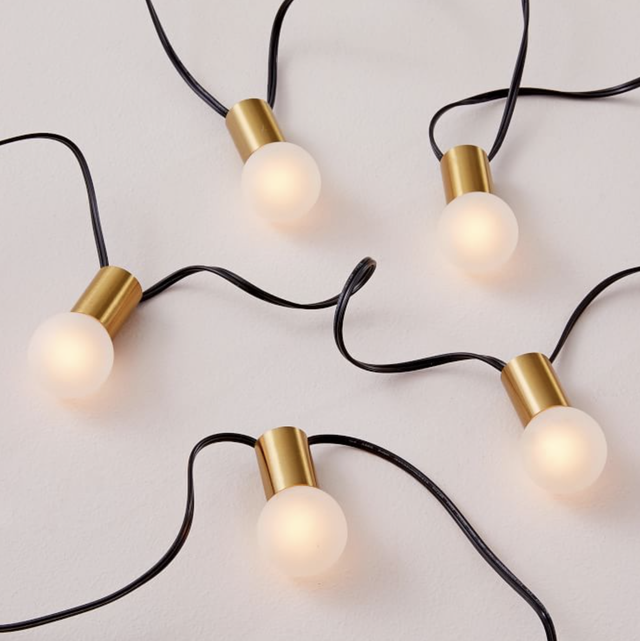frosted bulbs with brass accents