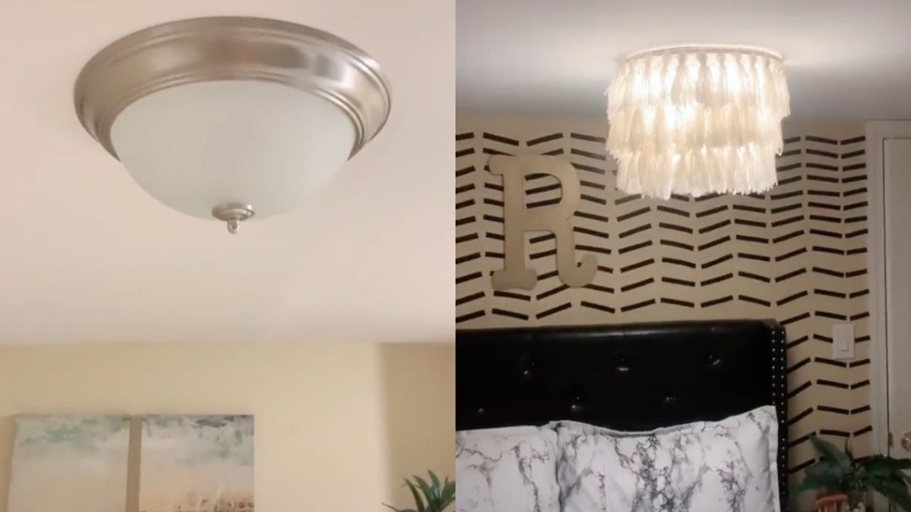 This Viral Tiktok Shows How To Cover Flush Mounts With A Chandelier Diy