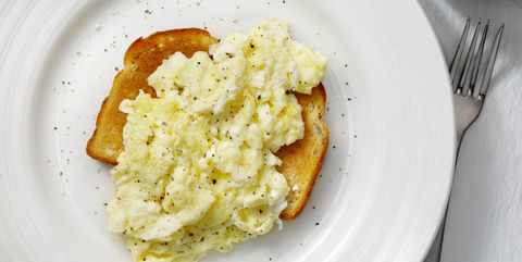 light, fluffy and buttery scrambled eggs on toast