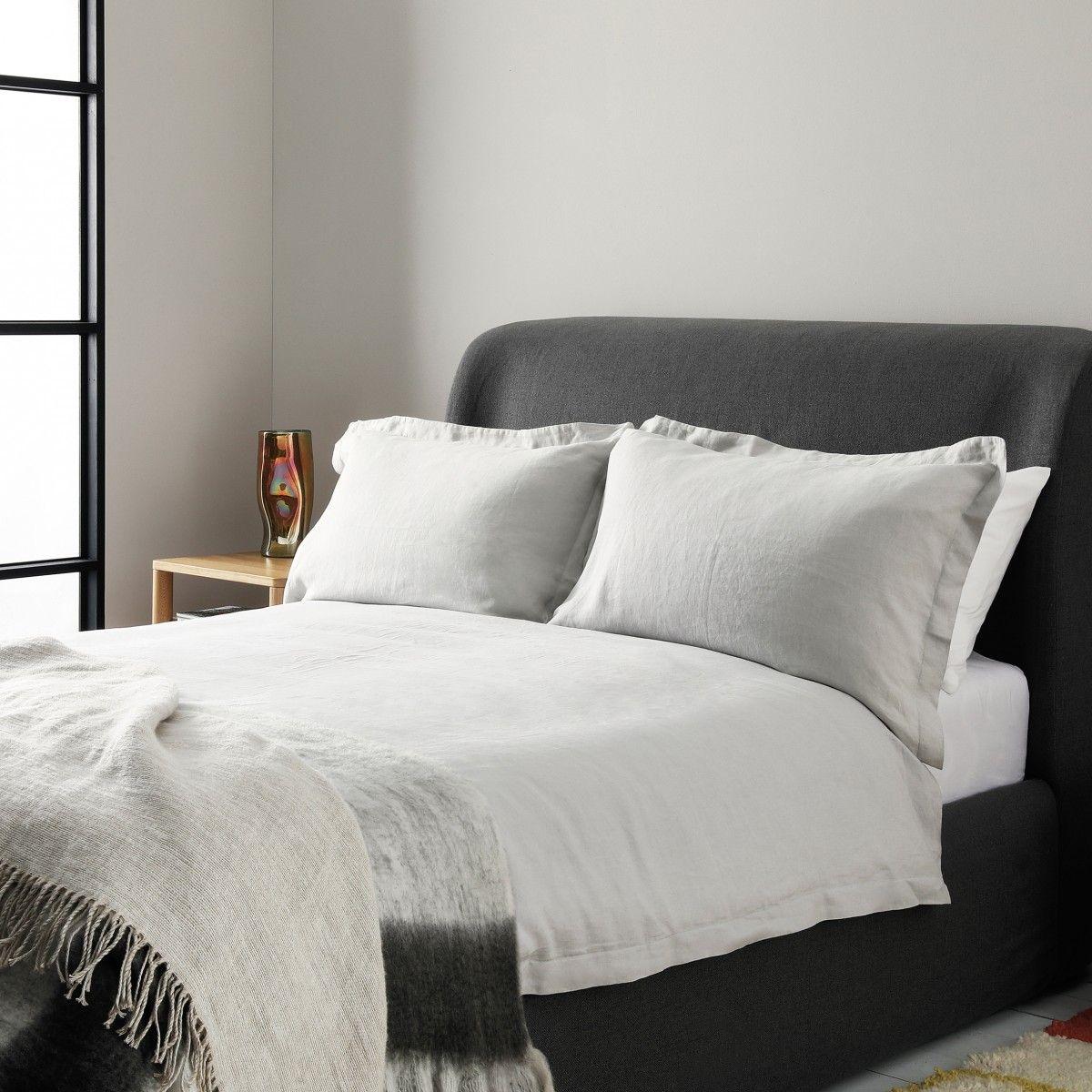 Light Grey Linen Double Duvet Set, Habitat