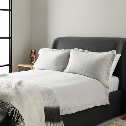 Light Grey Linen Double Duvet Set, Habitat