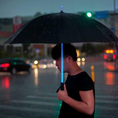 Umbrella, Green, Photograph, Rain, Light, Night, Snapshot, Reflection, Lighting, Standing,