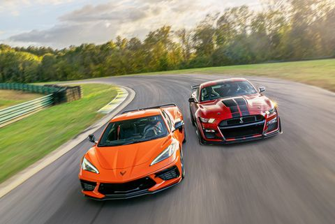 2021 chevrolet corvette and 2021 ford mustang shelby gt500