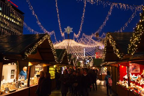 Lights and star decor over xmas market in Essen