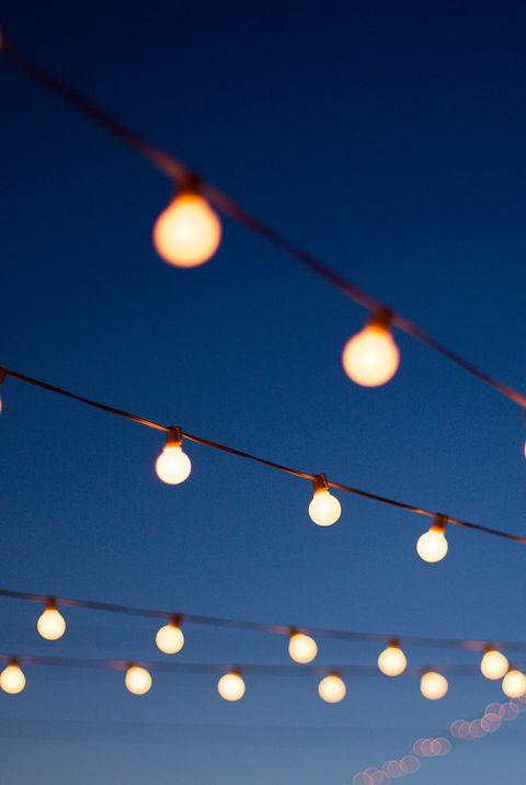 Lights hang outdoors