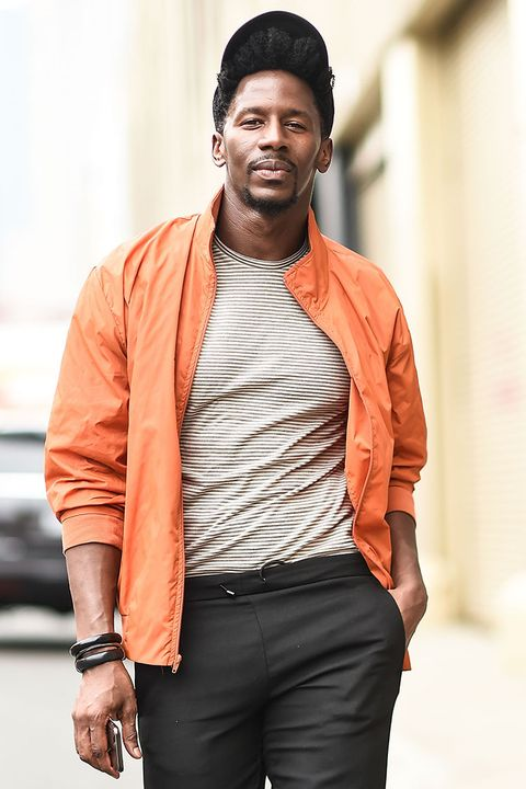 Fashion, Orange, Street fashion, Yellow, Human, Outerwear, Cool, Jacket, Fashion design, Model,