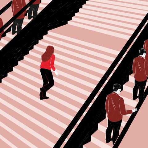 Red, Line, Pink, Stairs, Illustration,