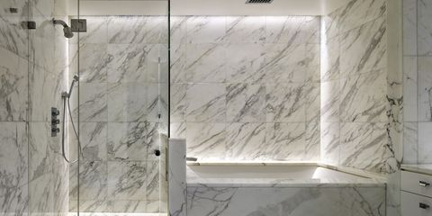 White, Wall, Tile, Bathroom, Room, Floor, Interior design, Marble, Architecture, Shower,