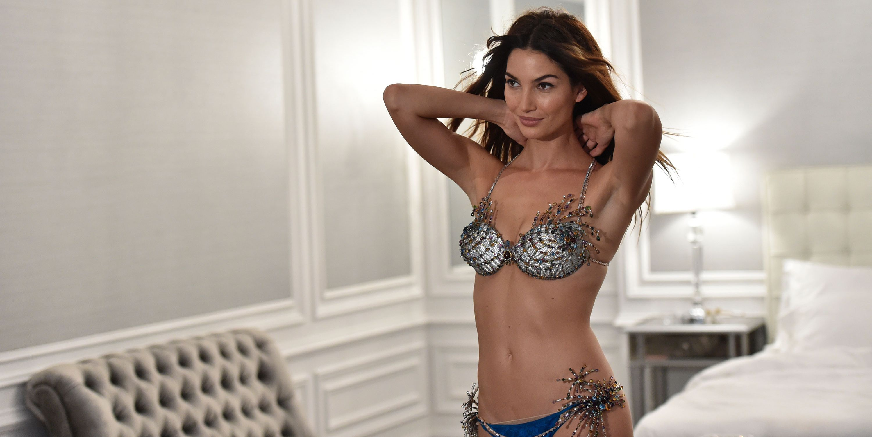 Lily Aldridge wearing the Fantasy bra on the Victoria's Secret catwalk