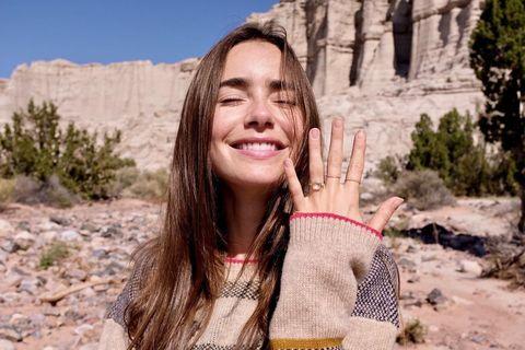 "Lily Collins announces engagement with ""pure joy"" photos"