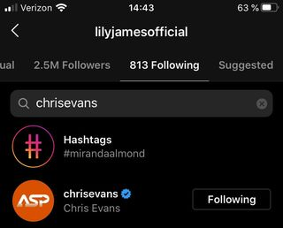 lily james following chris evans on her account