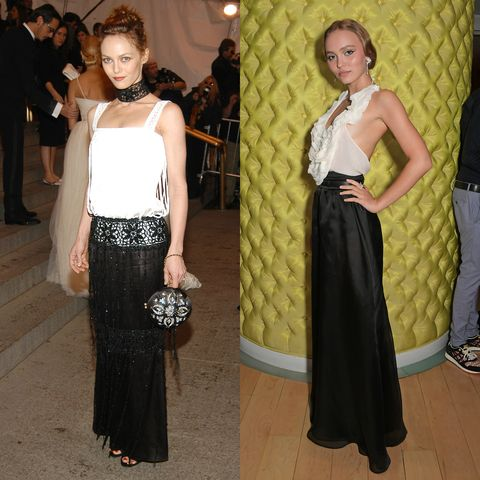 left vanessa paradis wearing a white top, black crochet and silk long skirt and black crochet choker necklace holding a circular clutch bag right lily rose depp wearing a white ruffle halter neck top and black long silk skirt