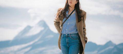Blue, Clothing, Beauty, Fur, Sky, Skin, Jeans, Outerwear, Fashion, Long hair,