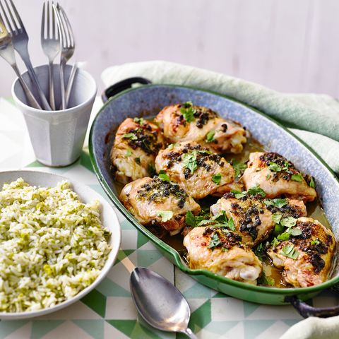 lime and caper chicken with green rice