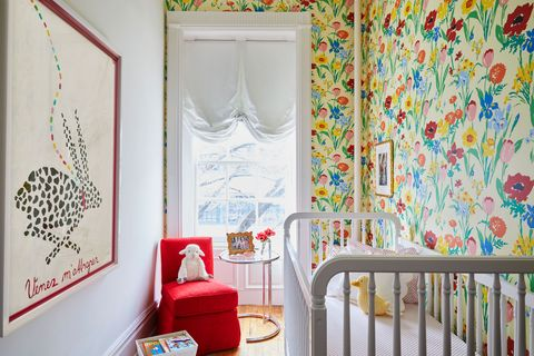 Curtain, Room, Red, Interior design, Wallpaper, Wall, Yellow, Window treatment, Furniture, Textile,