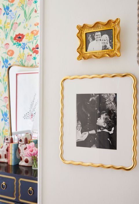 Picture frame, Yellow, Wall, Room, Rectangle, Photography, Art, Illustration, Interior design, Square,