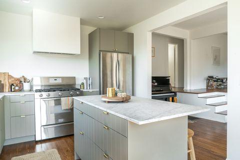 Countertop, Furniture, Room, Property, Kitchen, Cabinetry, Interior design, Building, Home, Floor,