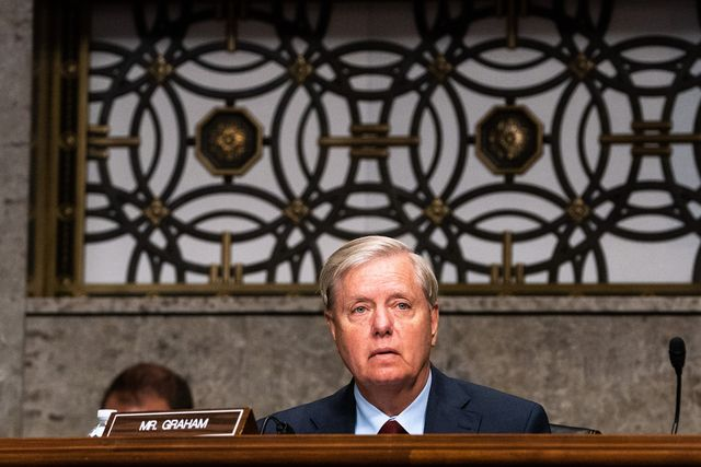 washington, dc   september 16  sen lindsey graham r sc, listens during a hearing of the senate appropriations subcommittee reviewing coronavirus response efforts on september 16, 2020 in washington, dc  photo by anna moneymaker poolgetty images