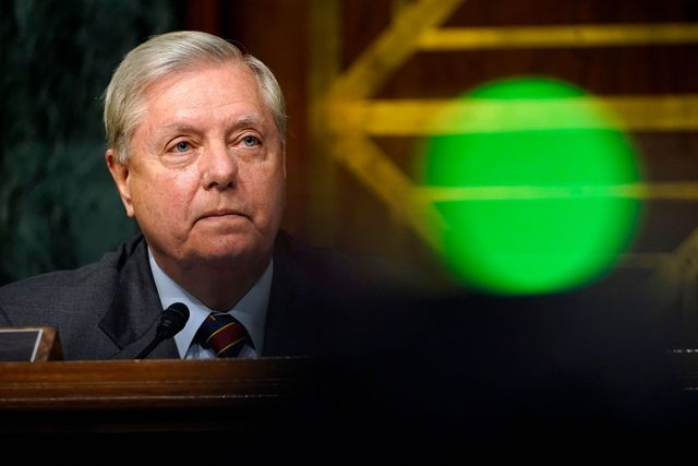 sen lindsey graham, r sc, listen during a senate judiciary committee hearing on a probe of the fbis russia investigation on capitol hill in washington, dc on  november 10, 2020 photo by susan walsh  pool  afp photo by susan walshpoolafp via getty images