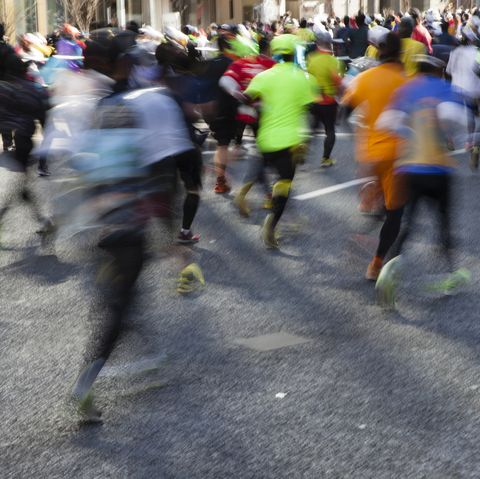 Line of runners on tokyo marathon