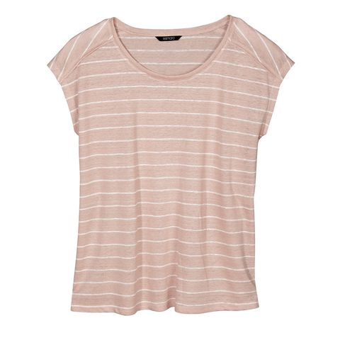 Clothing, White, T-shirt, Pink, Sleeve, Top, Peach, Blouse, Beige, Outerwear,
